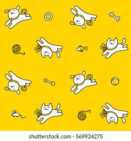 Little cat and little dog are playing with pet toys. Children seamless vector pattern. Cute characters and graphic elements for kids design. Cartoon hand drawn style. Wrapping, packaging, textile.