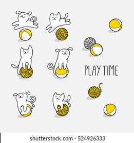 Little cat and little dog are playing toy and wool balls. Children vector illustration. Cute character design. Set of graphic elements for kids. Cartoon hand drawn style.