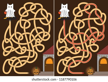 Little cat dressed as ghost - maze for kids with a solution in black and white