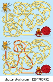 Little cat entangled in red yarn maze for kids with a solution