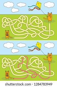 Little cat flying a kite maze for kids with a solution