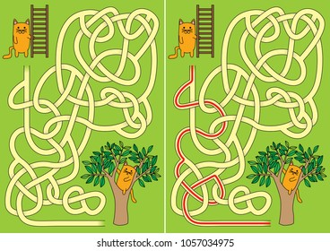 Little cat with ladder helping other cat on a tree maze for kids with a solution
