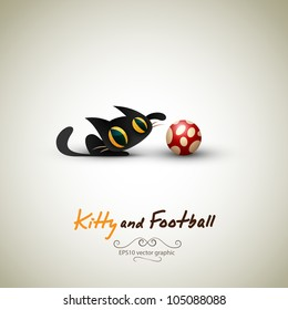 Little Cat playing with Football | Great Greeting for Pet Owners | Layered EPS10 Vector Background