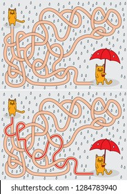 Little cat in the rain maze for kids with a solution