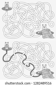 Little cat sewing a quilt maze for kids with a solution in black and white