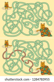Little cat sewing a quilt maze for kids with a solution