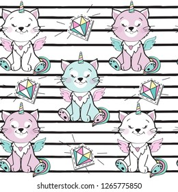 Little cat unicorn with winged seamless pattern on a striped background