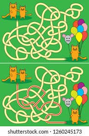 Little cats and baloon maze for kids with a solution