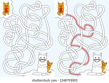 Little cats building a snowcat maze for kids with a solution
