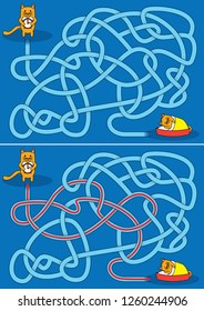 Little cats maze for kids with a solution