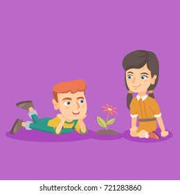Little caucasian boy lying on the ground and looking at the flower while his female friend sitting nearby. Happy friends and a flower. Vector sketch cartoon illustration. Square layout.