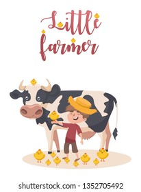 Little caucasian farmer boy with a chick on his hand. Smiling farmer boy standing on the background of cow. Vector sketch cartoon illustration with a lot of chicks and phrase Little farmer.