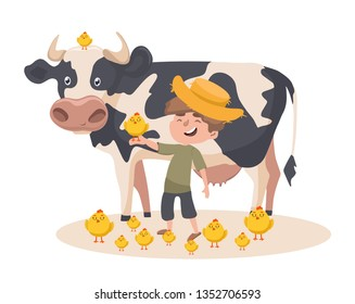 Little caucasian farmer boy with a chick on his hand. Smiling farmer boy standing on the background of cow. Vector sketch cartoon illustration with a lot of chicks.