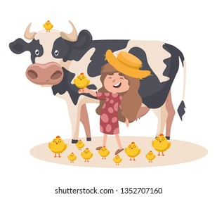 Little caucasian farmer girl with a chick on her hand. Smiling farmer girl standing on the background of cow. Vector sketch cartoon illustration with a lot of chicks.