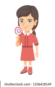 Little caucasian girl holding a lollipop candy. Full length of young girl eating a lollipop candy. Vector sketch cartoon illustration isolated on white background.