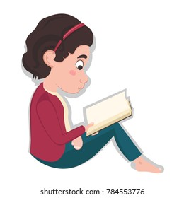 Little caucasian girl sitting and reading a book, cartoon style vector illustration isolated on white background. Concept of learning at school.