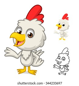 Little Chicken with Present Hand Cartoon Character Include with Flat Design and Outlined Version Vector Illustration