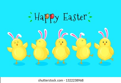 Little chicks cartoon set with rabbit ears decoration. Funny yellow chickens in different poses. Happy Easter concept. Vector illustration isolated on blue background.