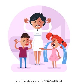 Little child baby brother and sister fighting and mother character have angry face expression. Family relationship problem concept. Vector flat cartoon design graphic isolated illustration