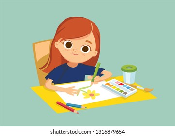 Little child baby girl drawing picture with pencils and watercolor sitting at the table. Drawing kid activity in art class. Learning how to draw.