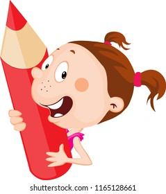 Little child - girl holds red pencil peeking out flat design illustration