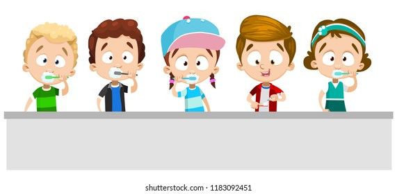 Little children brushing your teeth in bathroom set. Kids personages holding toothbrush with toothpaste. Healthy lifestyle and everyday oral hygiene. Kids dental care cartoon vector illustration.