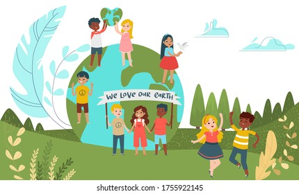 Little children character male female save planet, group kid save environment concept cartoon vector illustration. Tiny people child staying green world, we love our earth dance amusement field.