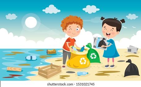 Little Children Cleaning The Beach