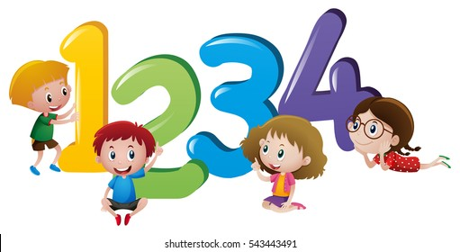 Little children counting number one to four illustration