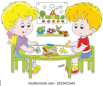 Little children drawing funny pictures with color crayons, a vector illustration in cartoon style