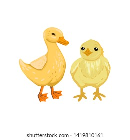 Little children duckling and chicken. Newborn birds, yellow plumage. Vector isolated character on white background. Cartoon flat style illustration.