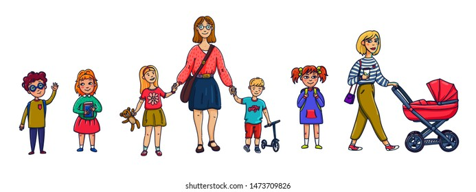 Little children and nanny or mother. Funny cartoon characters set. Flat style vector illustration