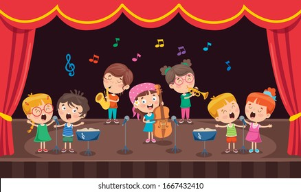 Little Children Performing Music At Stage