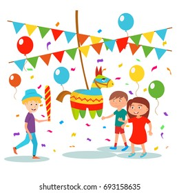 Little children are playing. Small boy is going to break Pinata on his birthday, vector illustration