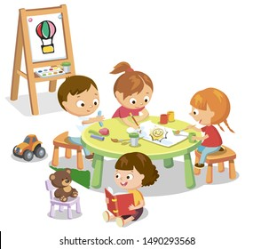 Little children are playing at the table. Vector illustration.