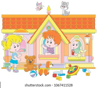 Little children playing in a toy house on a playground, vector illustration in a cartoon style