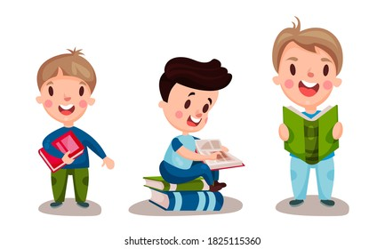 Little Children Sitting and Standing Reading Book Vector Illustrations Set