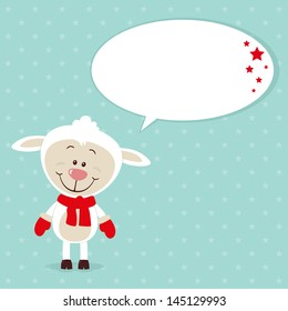 Little christmas sheep with speech bubble