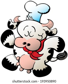 Little chubby cow wearing cooking accessories like a hat and a red bandana while walking proudly and smiling shyly