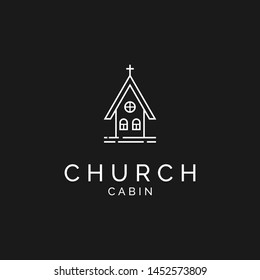 little church cabin logo design in monoline style