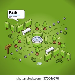 Little city park with pond and fountain and benches. AR description in speech bubble (isometric view)