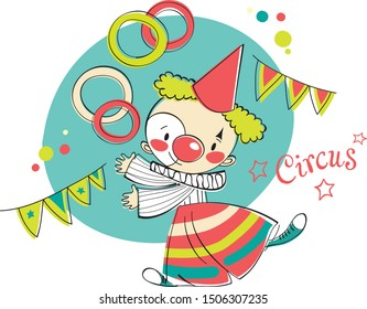 Little clown performs in the circus