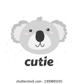 Little coala's head with word Cutie. Simple vector illustration.