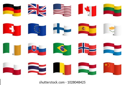 little collection of famous country flags No.1 vector file