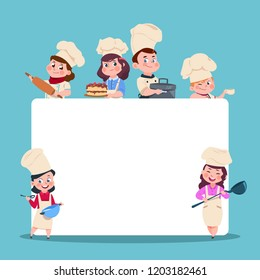 Little cooks. Cartoon children chef with big blank white banner. Cooking class students vector characters set. Chef and cook, cooking food illustration
