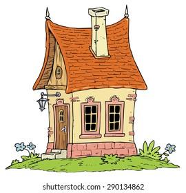 Little Cottage House - Fantasy Cartoon Illustration