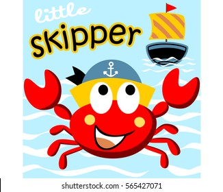 little crab the skipper, vector cartoon illustration