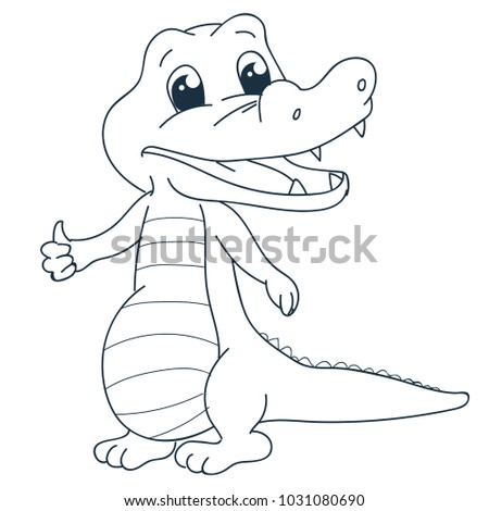 Little Crocodile Coloring Page Stock Vector (Royalty Free ...