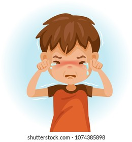 little crying boy. Children's mood on sad regret. kid facial sad. Tears and shivering shoulders. Vector illustrations isolated on white background.