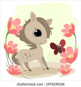 Little cub foal. . Cheerful kind animal child. Cartoons flat style. Funny. Vector